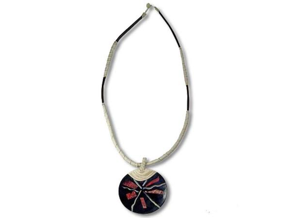 Halskette Muschel und Koralle, Kautschukband mit weißer Baumwolle, rund