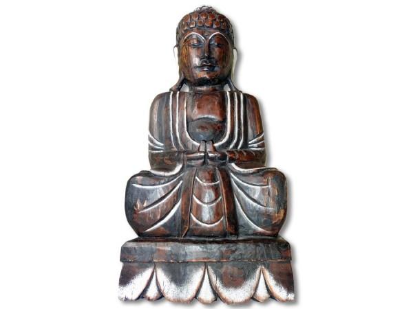 Buddha Skulptur 50cm dunkles, leichtes Holz gebrannt