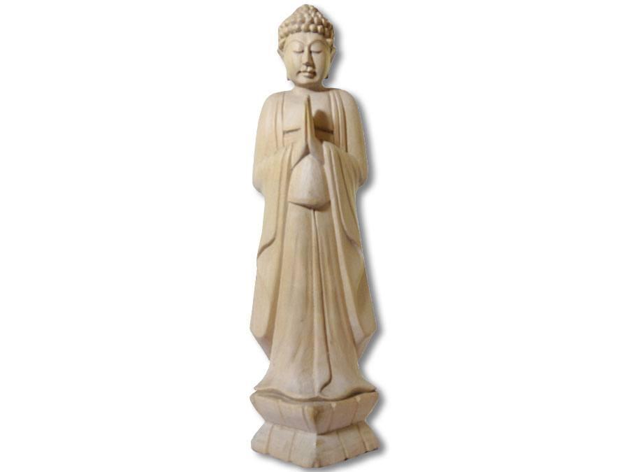 buddha statue stehend knubbelhaare 35cm kaufen. Black Bedroom Furniture Sets. Home Design Ideas