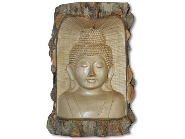 Buddha Büste im Rindenstamm 20cm