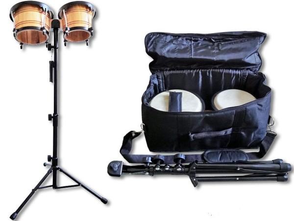 Bongo Set mit Tasche und Ständer