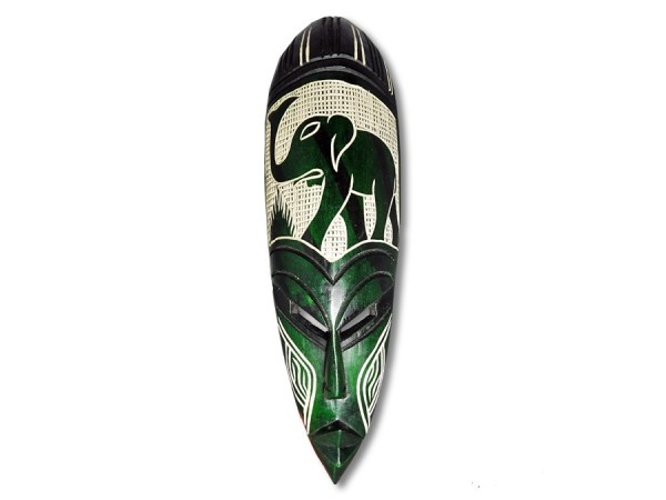 Afrikanische Maske, spitz, grün 45cm