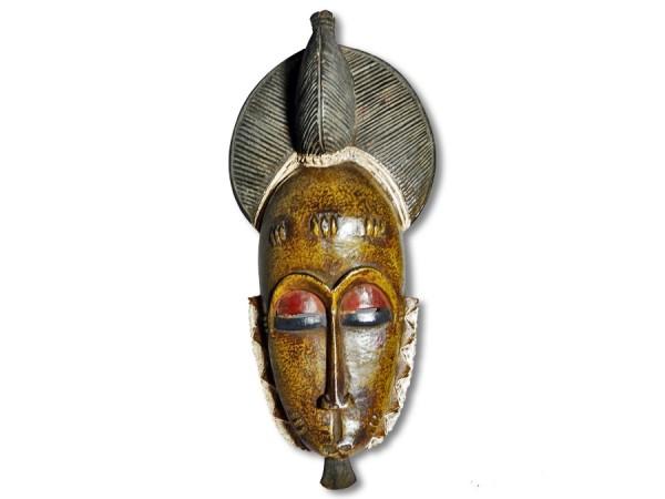 Baule Maske Afrika gelb 37cm
