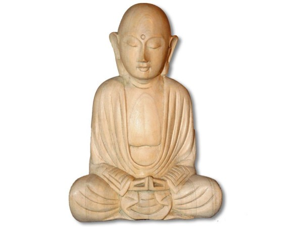 Buddha Lotussitz kahlköpfig meditierend Crocowood 15cm