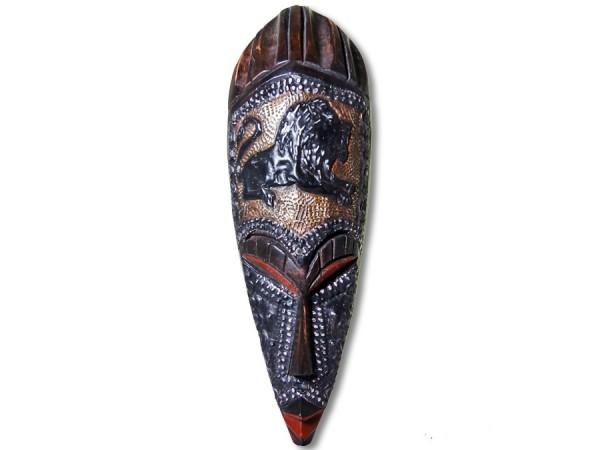 Afrikanische Maske, spitz, dunkel 28cm