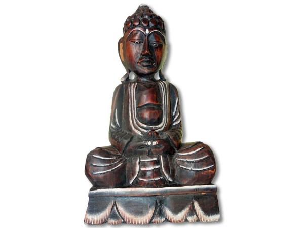 Buddha Statue 40cm dunkles, leichtes Holz gebrannt