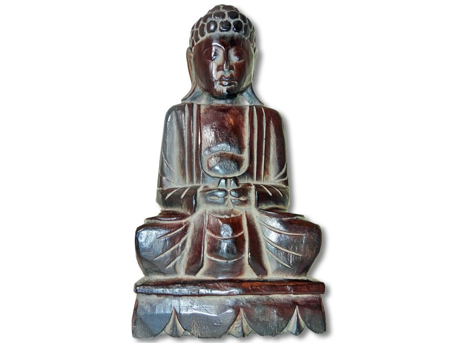 buddha statue 40cm dunkles leichtes holz kaufen. Black Bedroom Furniture Sets. Home Design Ideas
