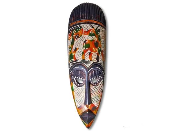 Afrikanische Maske, spitz, bunt 45cm