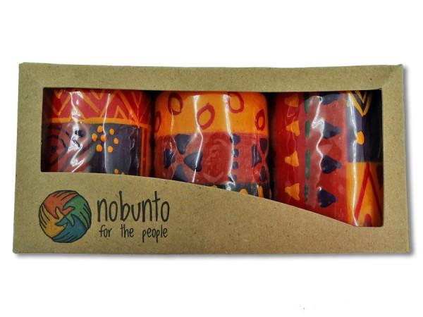 Geschenkbox 3x Stumpenkerze Indabuko 5x7cm