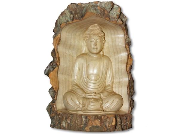 Buddha Skulptur im Rindenstamm 25cm