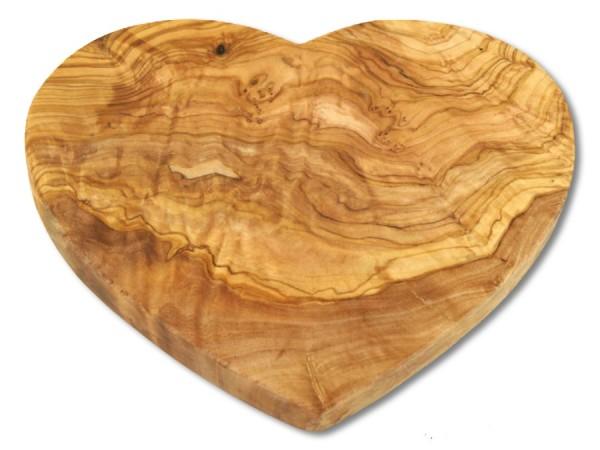 Frühstücksbrett Herzform aus Olivenholz 20cm