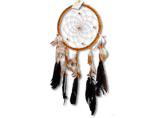 Traumfänger/Dreamcatcher, Wildleder, orange, 50cm